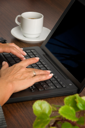 Woman typing